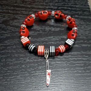 🆕 NWT Handmade Red bloody knife skull bracelet